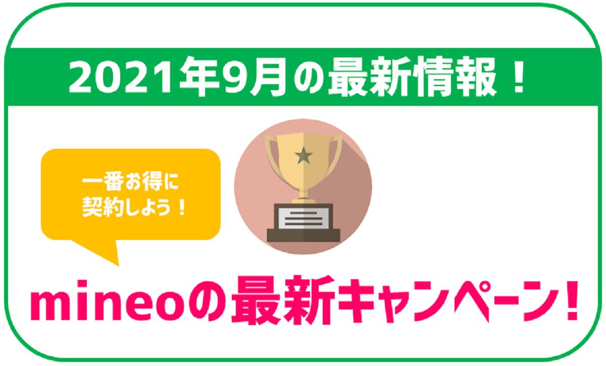 【9月最新】mineoの最新キャンペーンを利用して一番お得に契約する方法!